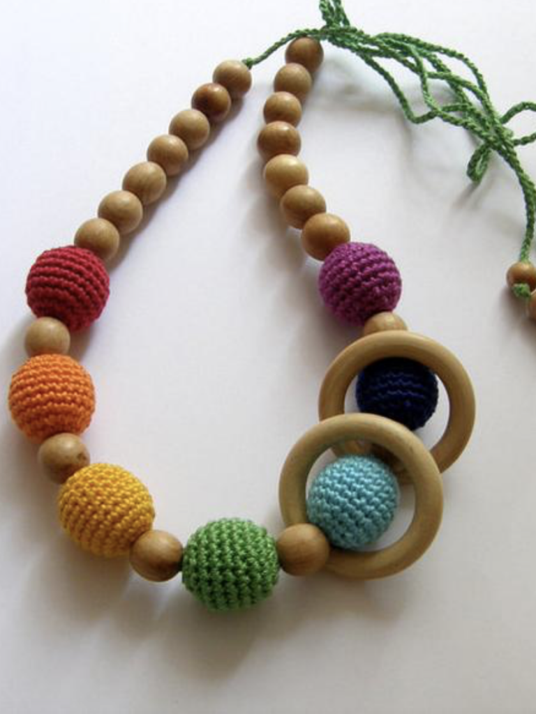 Rainbow Juniper Nursing Necklace with Wooden Rings