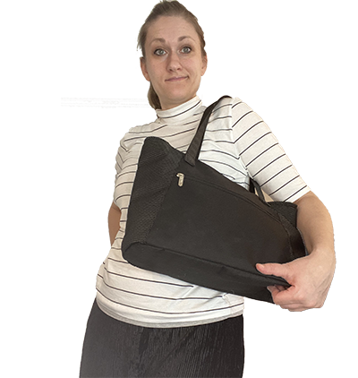 woman-with-ameda-finesse-breast-pump-tote